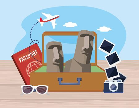 easter island in the baggage with passport and camera with pictures vector illustration