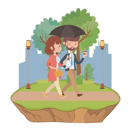 Couple of woman and man cartoon design