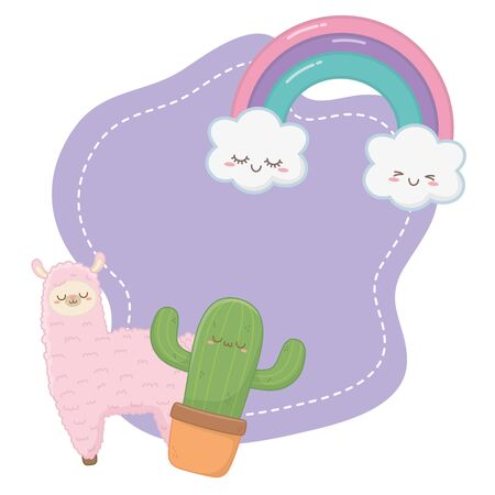 Llama with cactus cartoon design, Kawaii expression cute character funny and emoticon theme Vector illustration