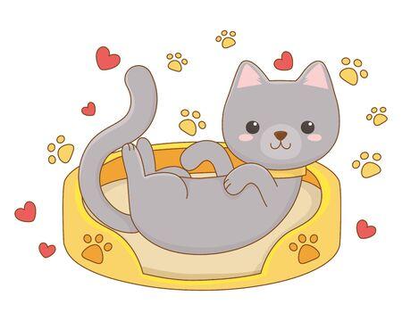 Cat cartoon design, Animal cute zoo life nature and fauna theme Vector illustration