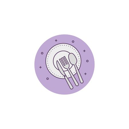 dish with set cutlery detailed style vector illustration design Reklamní fotografie - 134898292