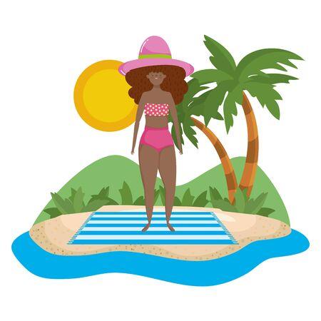 Girl with summer swimwear design Иллюстрация