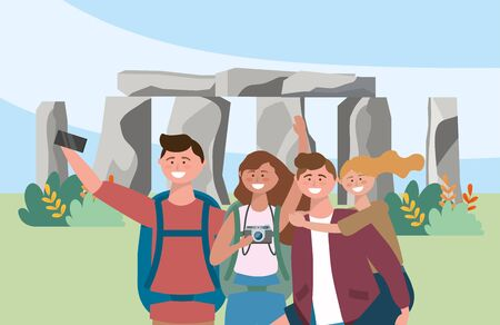 women and men friends taking a picture with smartphone in the stonehenge vector illustration