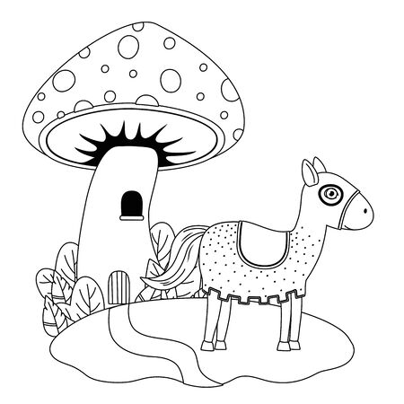 Medieval horse of fairytale design vector illustration