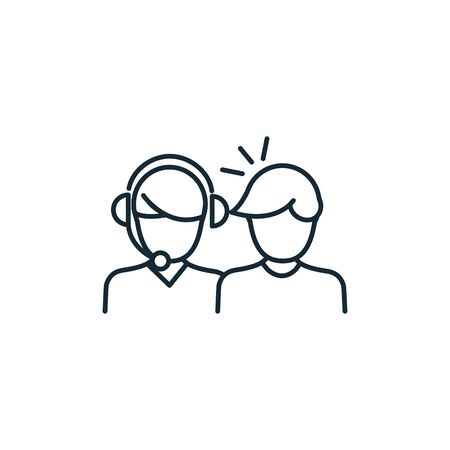 talking couple line style icon vector illustration design