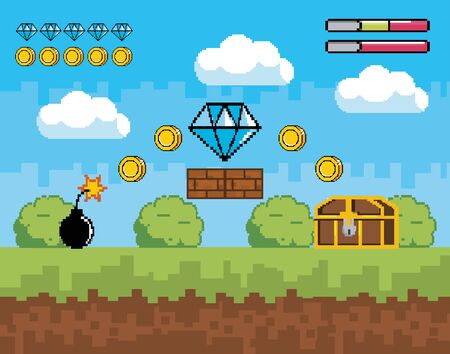 videogame scene with life bar and diamond with coins vector illustration