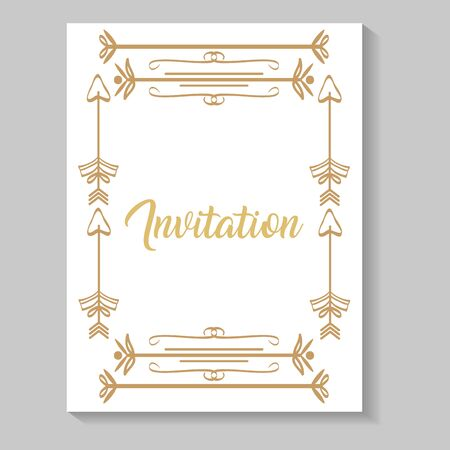 invitation card with leafs and arrows golden calligraphy vector illustration design Illusztráció