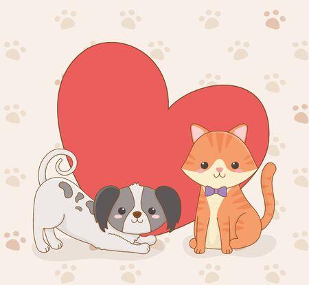 cute little dog and cat mascots with heart love vector illustration design Illusztráció