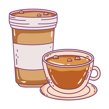 Coffee mug and cup design, Drink breakfast beverage bakery restaurant and shop theme Vector illustration Illustration
