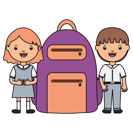 cute little students couple with schoolbag vector illustration design