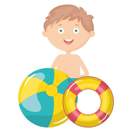 little boy with swimsuit and float lifeguard vector illustration design