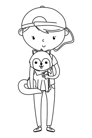 Boy with dog cartoon design, Mascot pet animal nature cute and puppy theme Vector illustration Illusztráció