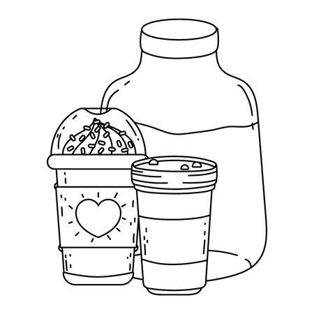 Iced coffee mug and milk vector design Illustration