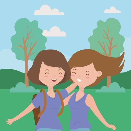 Teenager girls design, Female people young teen beautiful and woman theme Vector illustration