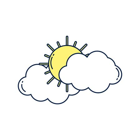 summer sun with clouds detailed style vector illustration design