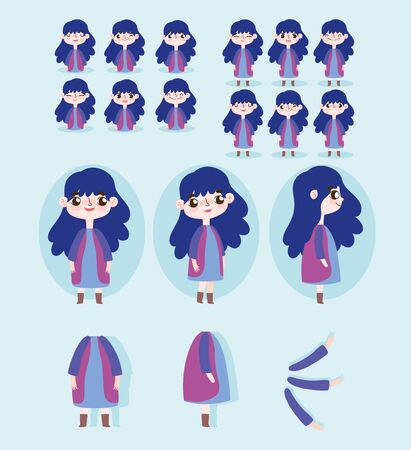 cartoon character animation little girl some parts body expression faces vector illustration
