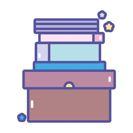 back to school education pile books in cardboard box vector illustration