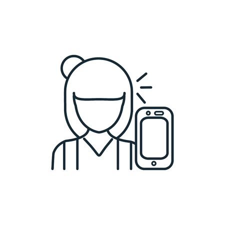 talking woman with smartphone line style icon vector illustration design