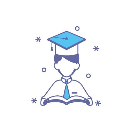 student boy with hat graduation fill style vector illustration design