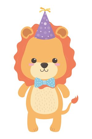 Lion cartoon design, Animal happy birthday celebration decoration and surprise theme Vector illustration