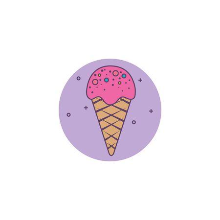 refreshing ice cream in cone detailed style vector illustration design Illusztráció