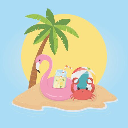 hello summer poster with flemish float icons vector illustration design