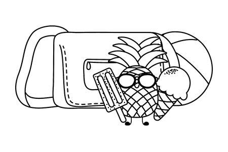 Summer pineapple with sunglasses and ice cream with handbag cartoons vector illustration graphic design Illusztráció