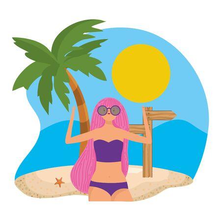 Girl with summer swimwear design Illustration