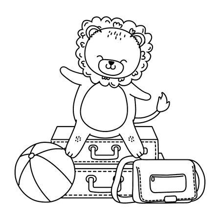 cute lion enjoying the summer and vacations holidays cartoon vector illustration graphic design Foto de archivo - 134921253