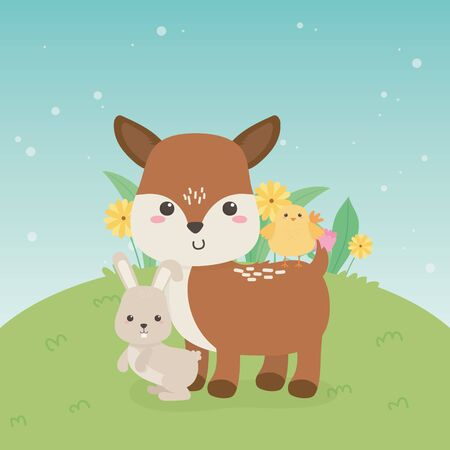 cute fawn and rabbit animals farm characters vector illustration design