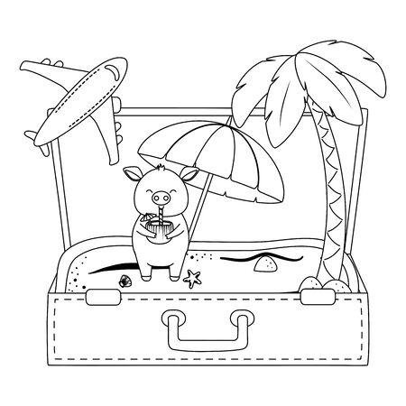 summer vacation relax cartoon vector illustration Foto de archivo - 134928056