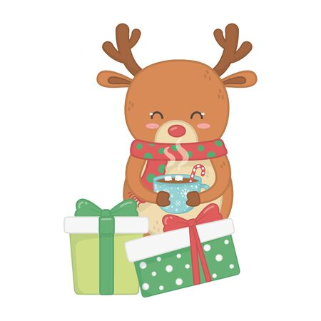 reindeer holding chocolate cup and gifts decoration merry christmas vector illustration