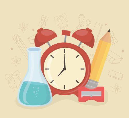 alarm clock and supplies back to school vector illustration design Illustration