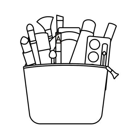 set of make up accessories in bag vector illustration design Ilustração