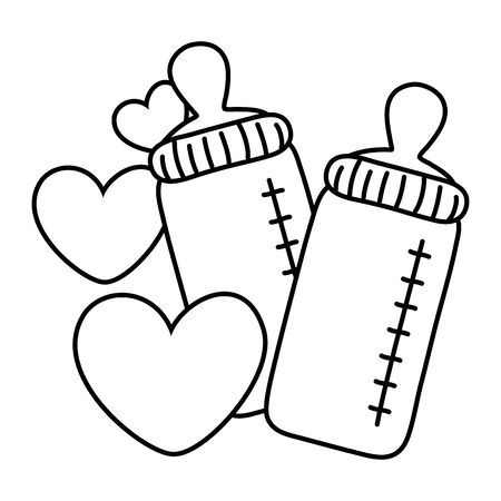 feeding bottles and hearts floating black and white vector illustration graphic design Illustration