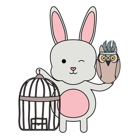 owl bird and rabbit with cage bohemian style