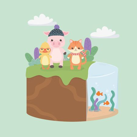 cute and little animals in the field characters vector illustration design