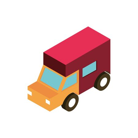 logistic truck transport vehicle isometric icon vector illustration Illustration