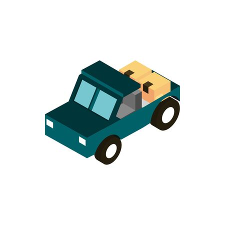 equipment transport vehicle isometric icon