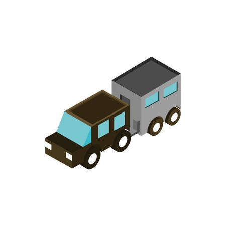 suv with trailer transport vehicle isometric icon
