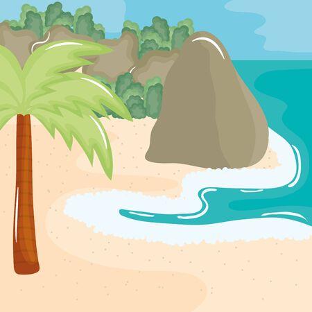 beach seascape with trees palms summer scene Stock Illustratie