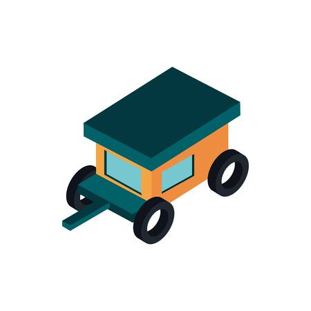 trailer transport vehicle isometric icon vector illustration