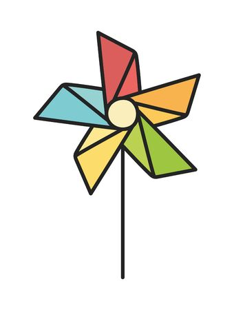 kids toy, pinwheel wind stick icon