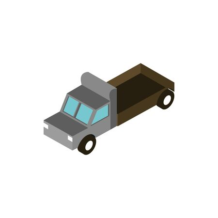 truck pickup cargo transport vehicle isometric icon vector illustration