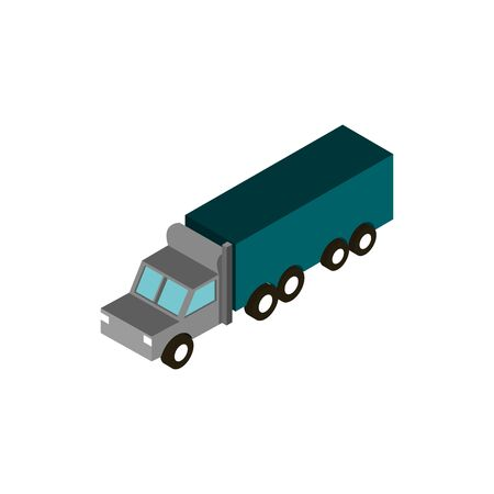 transport truck container vehicle isometric icon vector illustration