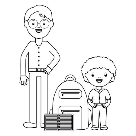 cute little student boy with teacher and schoolbag vector illustration design