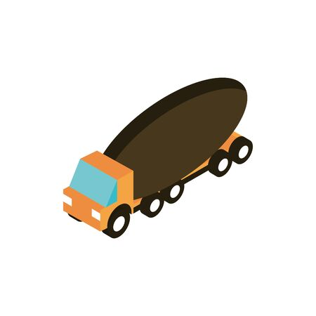 mixer truck transport vehicle isometric icon vector illustration