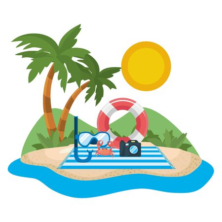 Palm tree design, Summer vacation tropical nature island and season theme Vector illustration