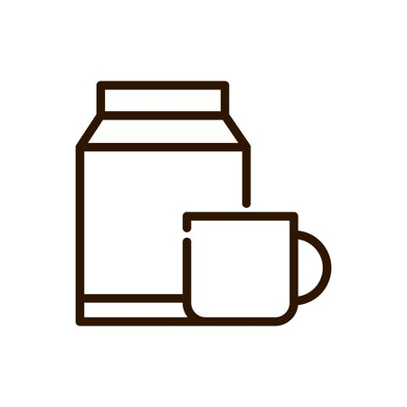 coffee cup and box product line design vector illustration