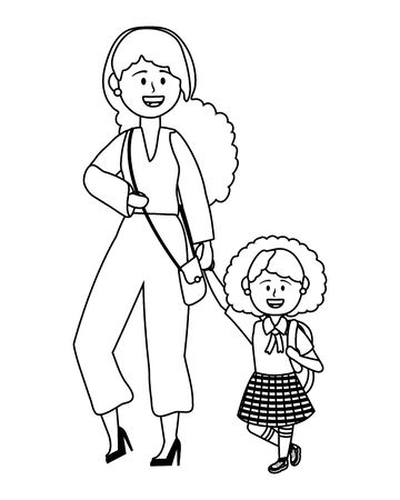 Girl kid and mother design, School education learning knowledge study and class theme Vector illustration